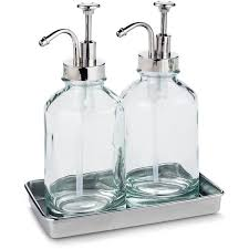 threshold double oil can with tray beach glass blue 20