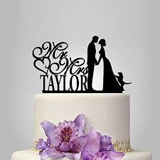 Personalized Wedding Cake Topper With Dog Mr And Mrs Letters Monogram
