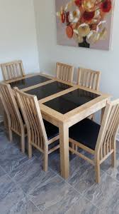 Solid Oak Kitchen Dining Table Slate Panels 6 Chairs