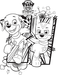 Super Pups Chase And Marshall Paw Patrol Coloring Page