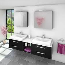 badmöbel set city 307 v1 schwarz esche badezimmermöbel waschtisch 200cm 20170 003 mit 2x 5w led strahler und 2x energiebox
