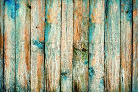 Rustic Wooden Fence Purification Of Blue Paint Bright Background
