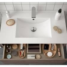 badezimmer badmöbel 70 cm aus eiche eternity holz mit porzellan waschtisch 70 cm standard