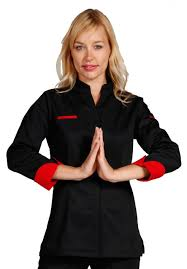 veste cuisine femme manche courte fitted chef coat in colors