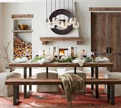 Pottery Barn Dining Table Decor With Bench