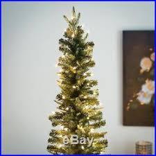75 Ft Slim Christmas Tree by Gerson Company Narrow Natural Cut Lincoln Pine Pre Lit Slim