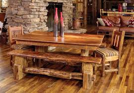 Bench Rustic Dining Room With Wooden Table And Chairs Look So Gorgeous Striped Pattern Of Ornament On The