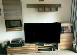 tv wohnwand nussbaum schwarz 4teilig
