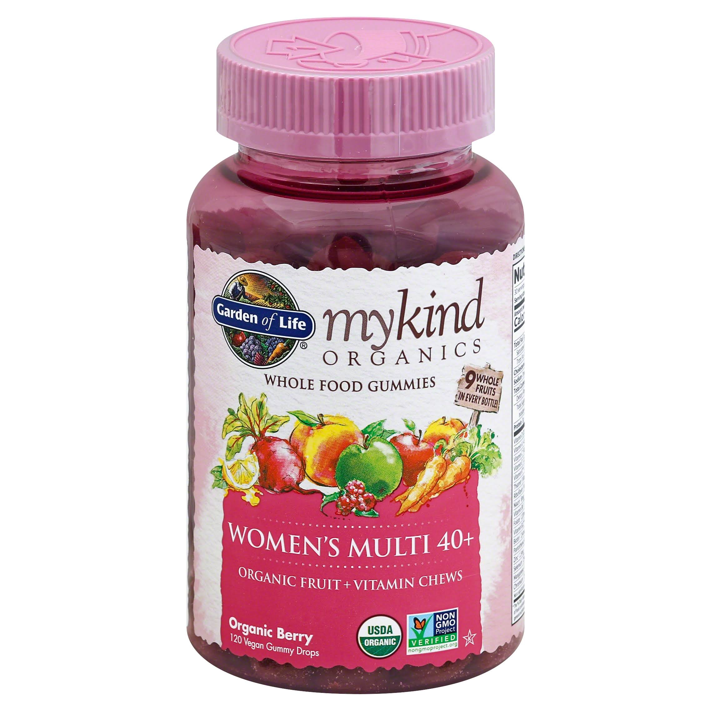 Garden of Life Mykind Organics Women's Multi 40+ Whole Food Gummies - 120 Vegan Gummy Drops, Berry