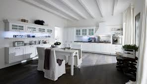 Large White Kitchen Design Combine Dark Rustic Wooden Alluring Floor L Shaped Stained Cabinets Storage Small Dining Set Modern