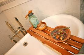 Teak Bath Caddy Australia by Bathroom Pallet Style Teak Wood Bathtub Shower Caddy With Teak