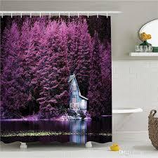 großhandel lavendel duschvorhang set lila bäume am see mit blauen hölzernen rustikalen lakehouse lodge romantische frühling natur stoff badezimmer