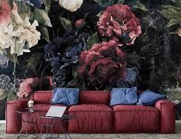 details zu fototapete blumen vintage 3d schlafzimmer rot pfingstrosen dunkel tapete