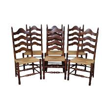 Solid Maple Rush Seat Ladder Back Dining Chairs - Set Of 6 | Chairish