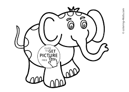 Elephant Animals Coloring Pages For Kids Printable Free