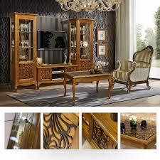 vivien wohnzimmermöbel neoklassisch wohnwand massivholz birke braun cognac schwarz
