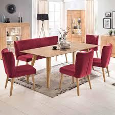 esstisch mit stühlen in rot stoff eiche massiv retro 6