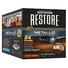 shop rust oleum restore 2 part brown metallic gloss garage floor