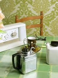Coffee Machine Retro Kitchen Tablecloth Green Wallpaper Vintage Stock Photo
