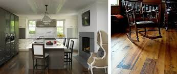 Left Bright White Kitchen With Dark Hardwood Flooring Right Reclaimed Antique