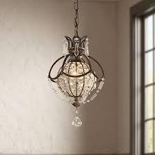 Lamps Plus Tukwila Washington by Castlewood Walnut Silver Finish 3 Light Mini Chandelier 83484