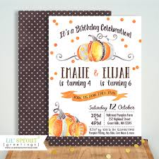 Pumpkin Patch Caledonia Il For Sale by Sibling Fall Birthday Invitation No Photo Pumpkin Patch