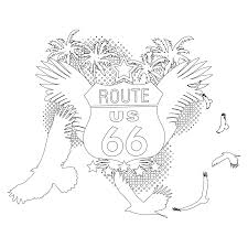 Route 66 Coloring Page Free Adult Coloring Pages