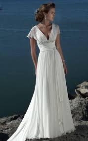 A Line V Neck Short Sleeves Beading Sweep Train Chiffon Beach Wedding Dress