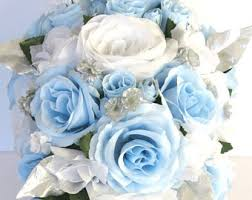 21 Piece Package Wedding Bouquet Bridal Bouquets Silk Flower Cascade Light BLUE SILVER WHITE Winter