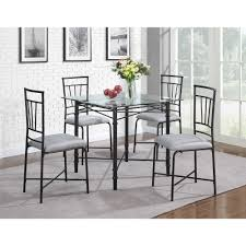 Elegant 5 Piece Dining Room Sets by Furniture Round Glass Top Dining Table With Dark Brown Wooden