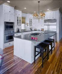 Kitchen Island With Cooktop And Seating White Kitchen Cabinetry Does Not Bland Small Kitchen