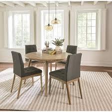 Round Dining Room Mid Century Modern Oak Gray 5 Piece Set Chair