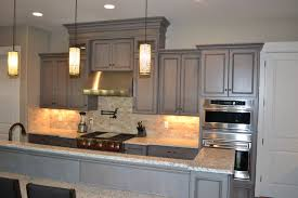 Gray Stained Cabinets With Black Glaze Traditional Kitchen
