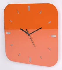 Image Is Loading Contemporary Square Wall Clock Acrylic High Gloss Orange