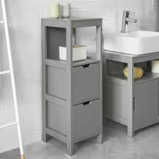 sobuy frg127 sg badkommode badschrank mit fußpolster kommode badezimmer badregal stahlgrau