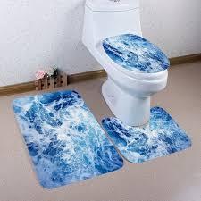 ozean ansicht muster 3 pc flanell toiletten matten bad matte