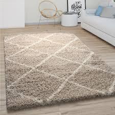 hochflor teppich wohnzimmer shaggy skandinavisches rauten muster modern in beige