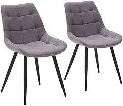 homica 2er set esszimmerstuhl polsterstuhl vierfußstuhl steppung ergonomische sitzschale stoff grau metallfüße in schwarz matt