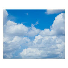 Blue Sky Clouds Background Skies Heaven Design Poster