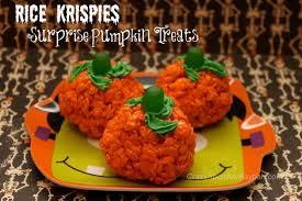 Rice Krispie Halloween Treats Spiders by Rice Krispies Surprise Pumpkin Treats Recipe