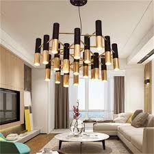 ike rohr led kronleuchter le licht metall schlauch moderne schwarz gold rohr hängen licht le led für wohnzimmer esszimmer