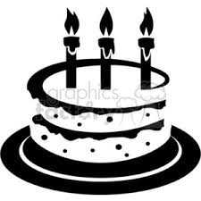 Royalty Free black and white birthday cake vector clip art image EPS illustration