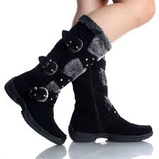 womens winter boots snow black flat studded buckle cute faux suede