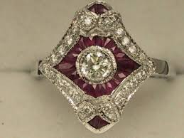 deco ruby and ring deco style 18ct white gold ruby cluster ring uk size