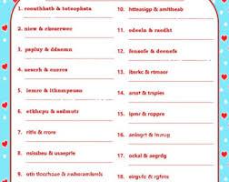 Printable Valentine Game DIY Word Scramble Fun Games Couple