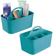 mdesign 2er set badezimmer korb mit griff als kosmetik organizer küchen aufbewahrungsbox oder handtuchhalter kleine bad box aus robustem