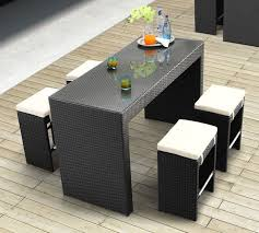 Black Seagrass Wicker Dining Sets With Rectangle Glass Top Table And