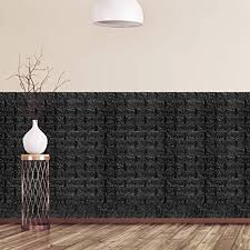 relaxdays wandpaneele selbstklebend 20er set dekorative steinoptik 3d paneele weicher schaumstoff 78x70cm schwarz