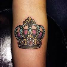 Cartoonish Crown Arm Tattoos For Women