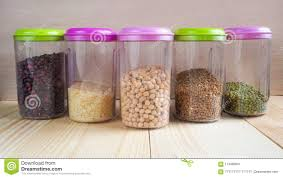 100 Storage Containers For The Home Plastic With Cereals Products Stock Image